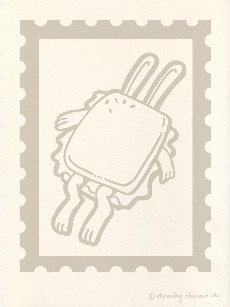 Stoppt Hasenbrot Briefmarkenplatzhalter