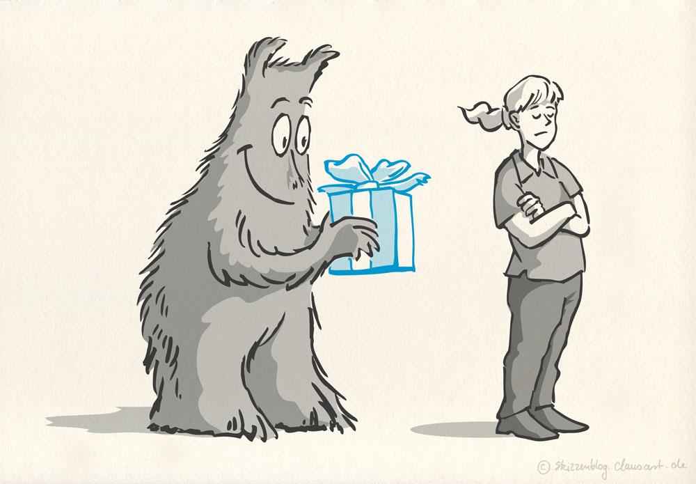 Das Zwangsmonster macht Geschenke