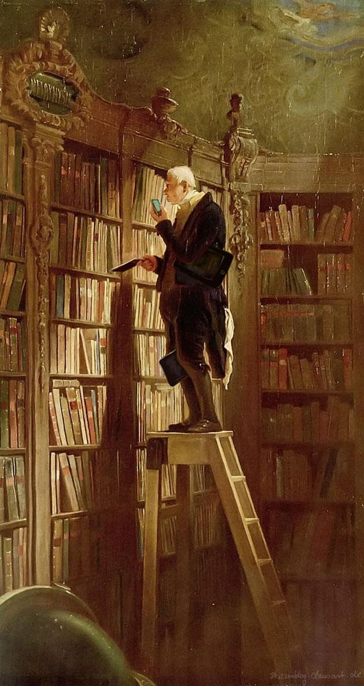 Carl Spitzweg -  Der  E-Reader