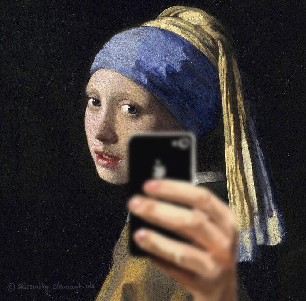 Selfie ohne Perlenohrring