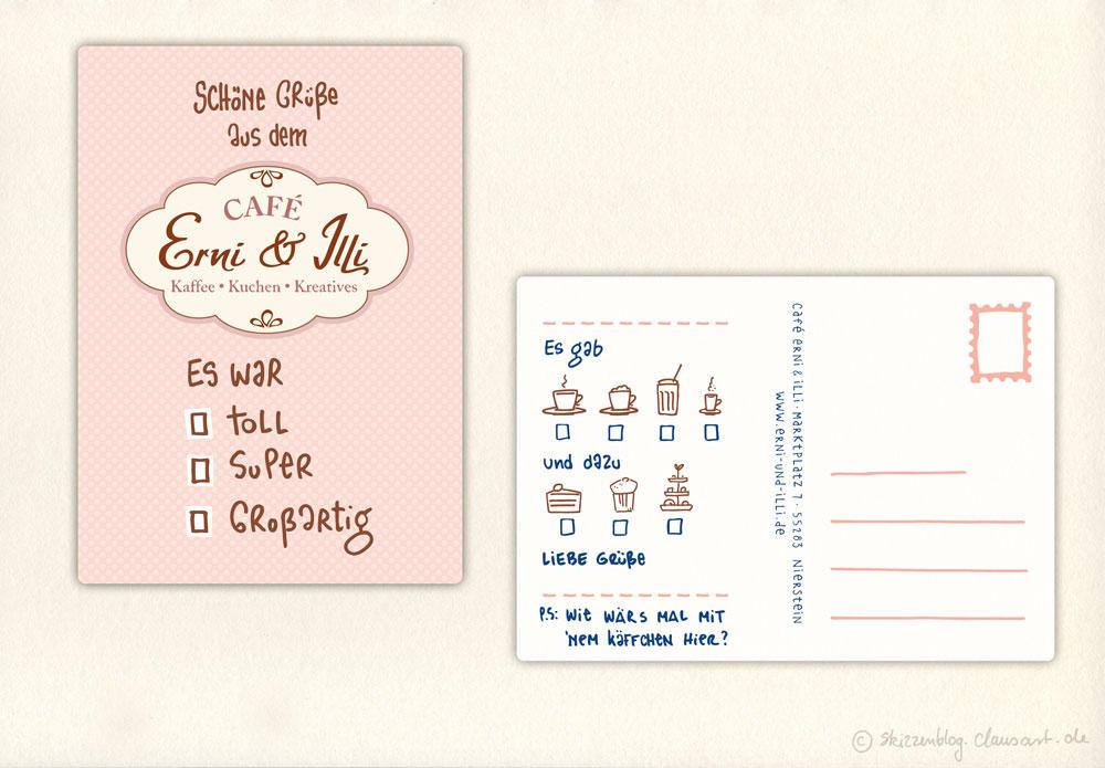 Die Multiple-Choice Erni&Illi Karte vorne und hinten