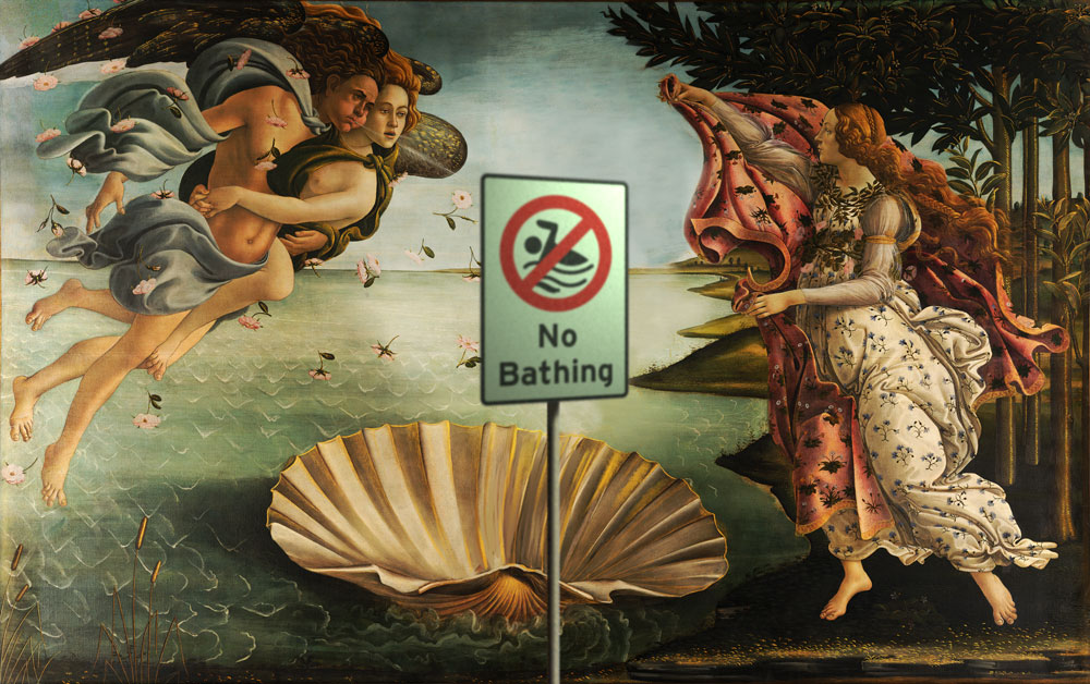 no shellsurfing, no nudity on the beach!