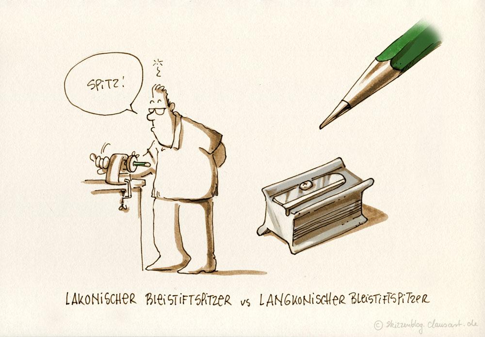Der langkonische Bleistiftspitzer macht den Bleistiftkonus lang...