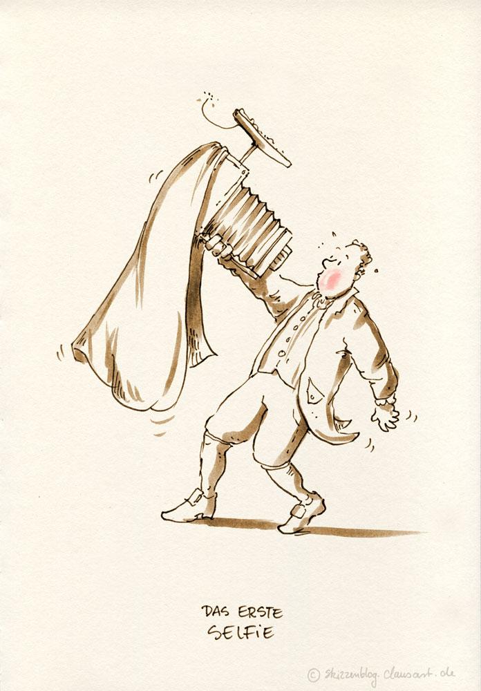 Jean-Pierre de la Selphie bei der Erfindung des Selphies am 05.04.1841