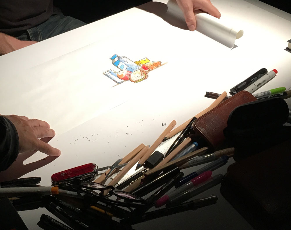 Zeichnen auf Butterbrotpapier