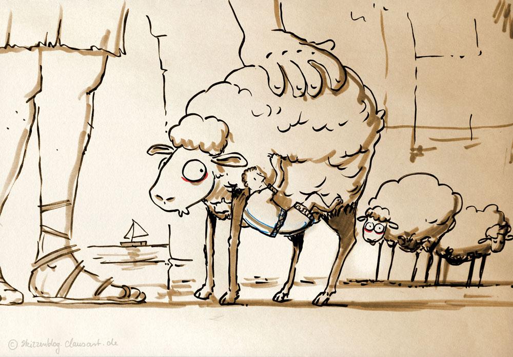 Der Polyphem Mythos: Odysseus klammert sich unter ein Schaf...