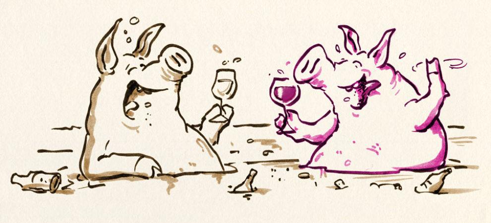und für mich eima ColaRotwein!