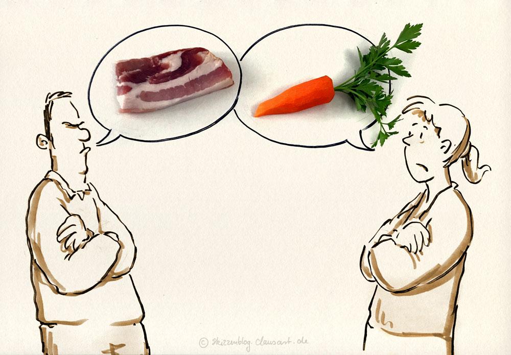 fleisch vs. gemüse