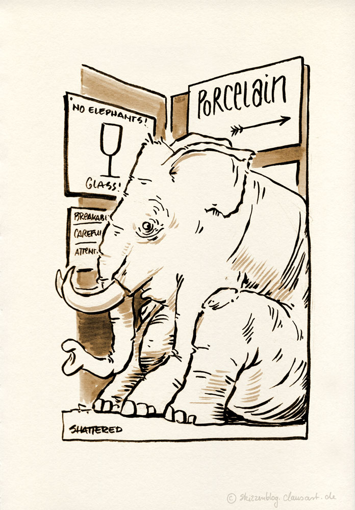 beim peozellanladenbesuch niemals den elefanten vergessen!