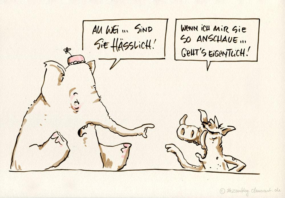 """#zurufcartoon """"Elefant und Warzenschwein"""" thanx @danisani & @incersu"""