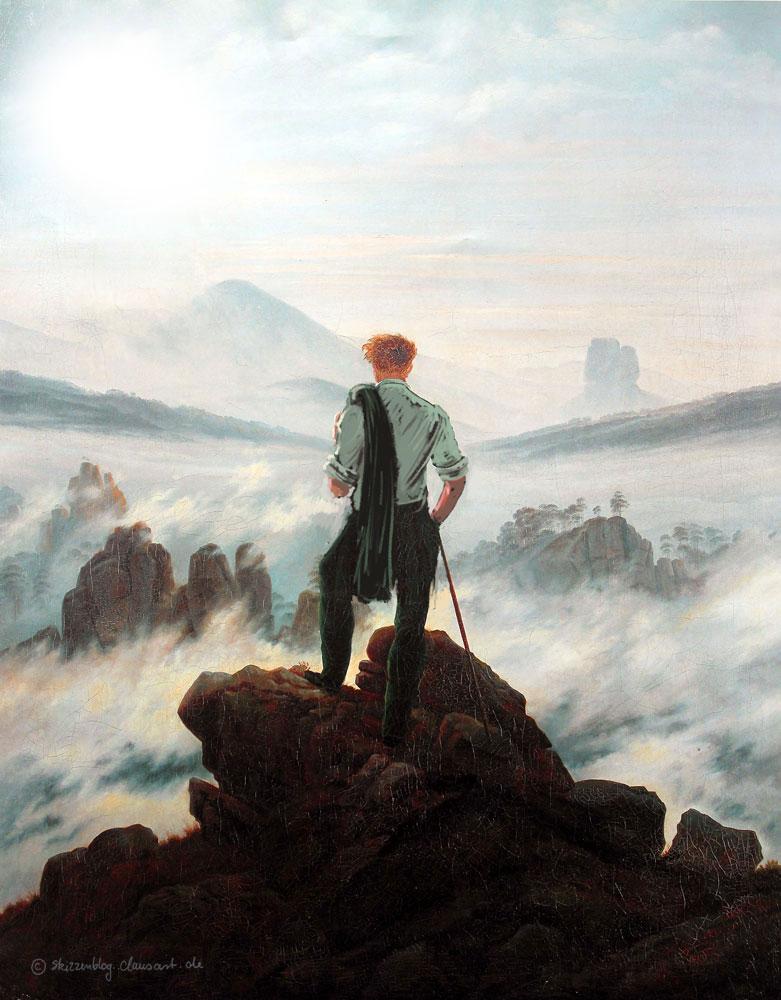 Das Schwitzen über dem Nebelmeer - Caspar David Heatrich