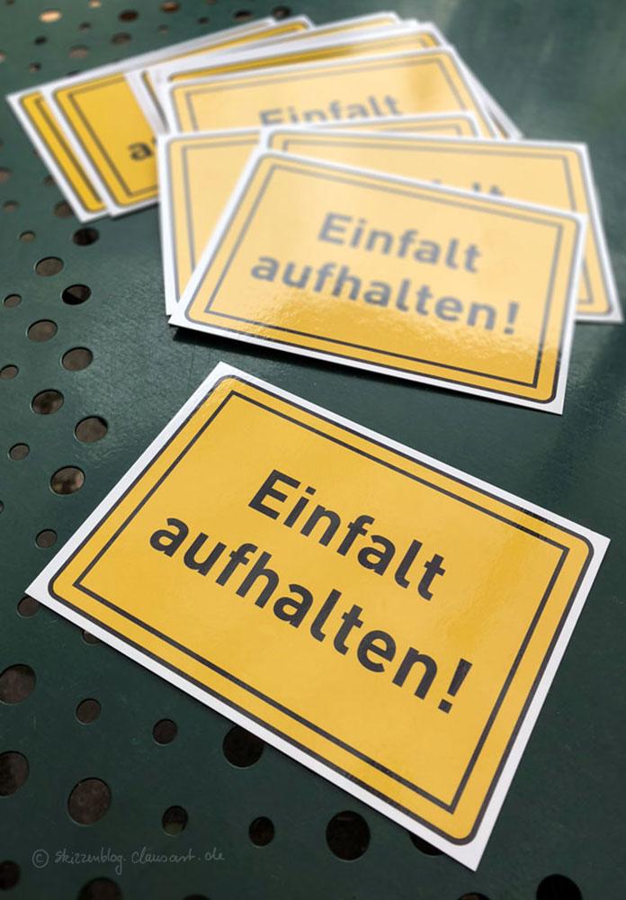"""""""Einfalt aufhalten"""" Postkarte 1,50€ zzgl Versand"""