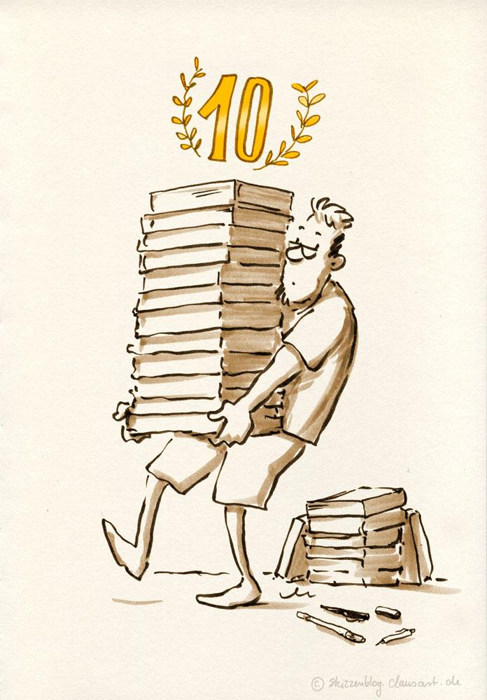 65 Skizzenbücher à 670gr sind zusammen 43,55 kg… gar nicht so schwer