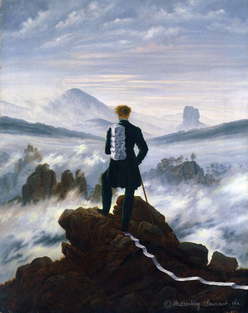 Wanderer über dem Nebelmeer #staythefuckathome